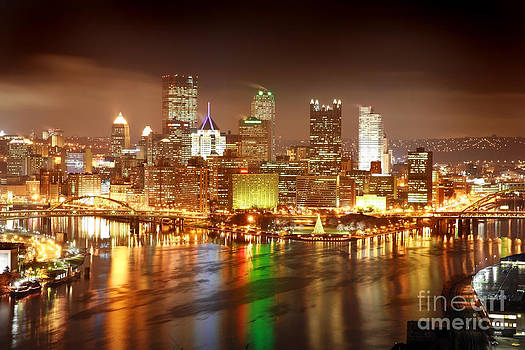 Pittsburgh Pennsylvania At Night by Sharon Dominick