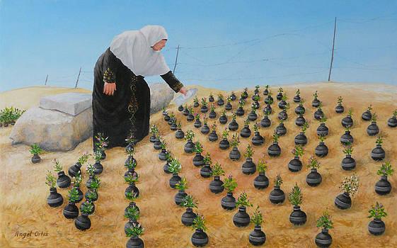 Planting flowers by Angel Ortiz