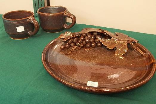 Platter with Grape Design by Carol Miller