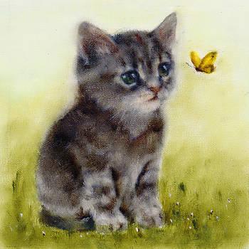 Playful Cat Art Print by Junko Van Norman