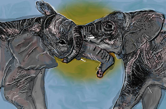 Playful Elephant Sibling Rivalry by Chris Goulette