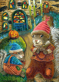 Playing with Acorns by Jacquelin Vanderwood