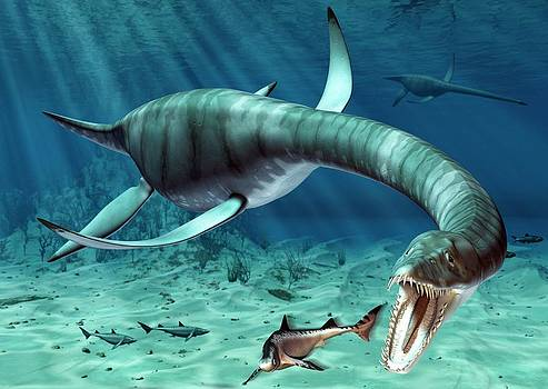 Plesiosaur Attack by Roger Harris