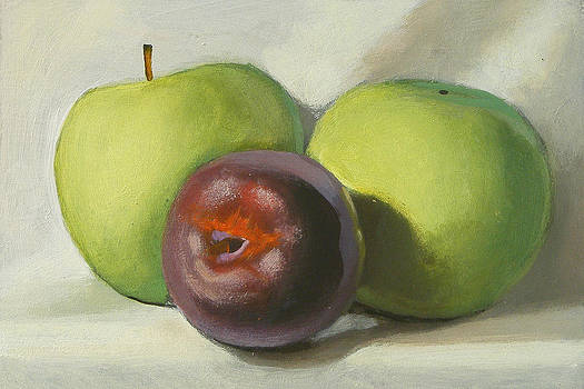Plum and apples by Peter Orrock