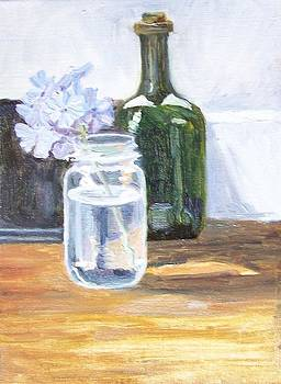 Plumbago in Glass Jar by Mary Adam