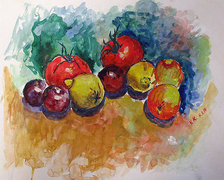 Plums lemons tomatoes by Vladimir Kezerashvili