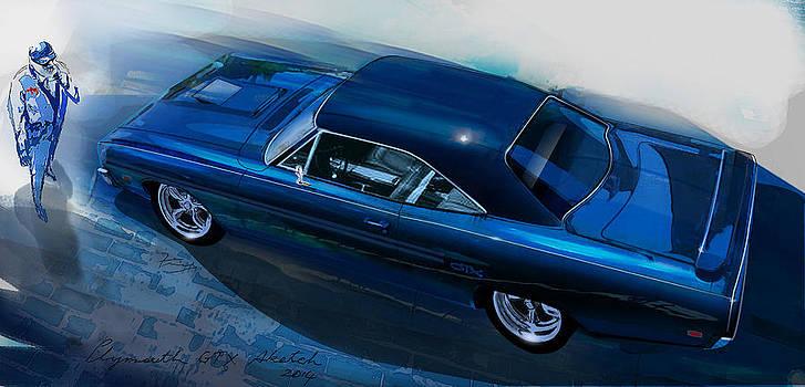 Plymouth GTX art by Fred Otene