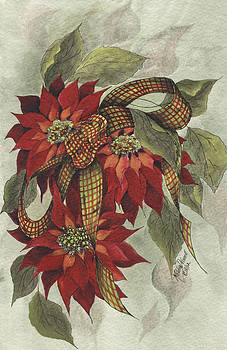 Poinsettia and Ribbon by Meldra Driscoll