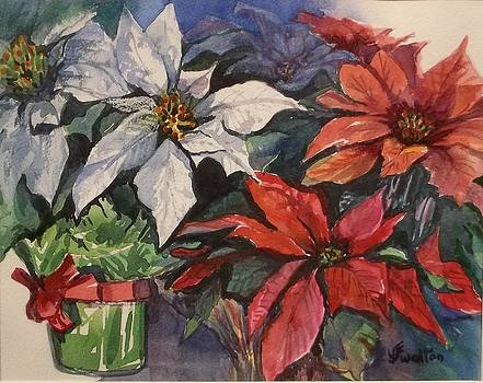 Poinsettias with Gifts by Judy Fisher Walton