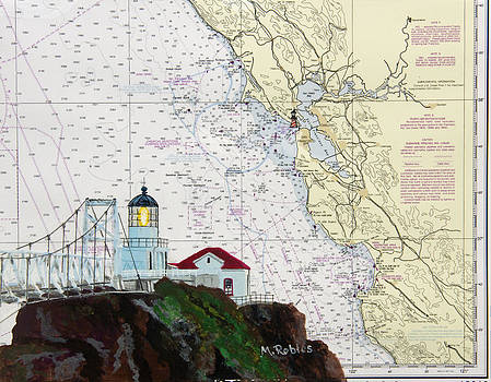 Point Bonita Lighthouse on NOAA Nautical Chart by Mike Robles