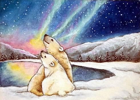 Polar Bears Enjoy Aurora Borealis by Debrah Nelson