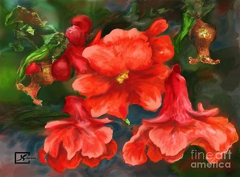 Pomegranate Blooms Floral Painting by Judy Filarecki
