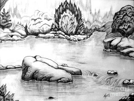 Pond in the woods by Kami Catherman