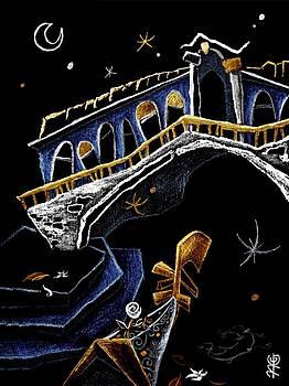 Arte Venezia - PoNTe Di RiALTo - Grand Canal Venise Gondola Illustration