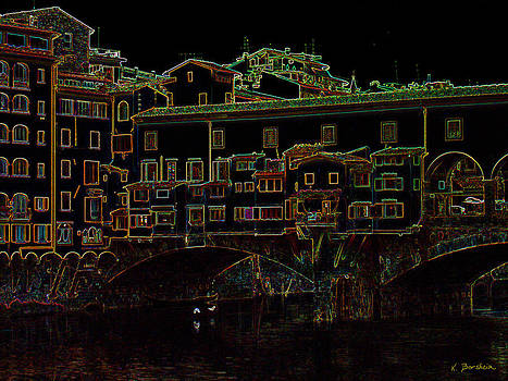 Ponte Vecchio II in neon by Kelly Borsheim