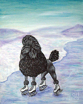 Poodle Ice Skating on a Lake by Jay  Schmetz