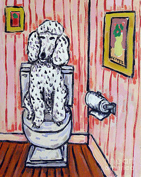 Poodle in the Bathroom by Jay  Schmetz