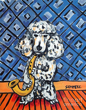 Poodle playing Saxophone by Jay  Schmetz
