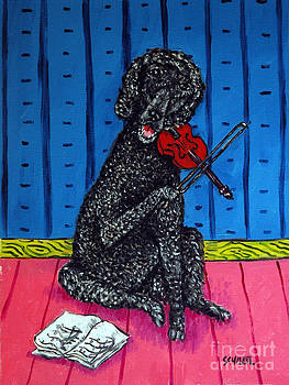 Poodle Playing Violin by Jay  Schmetz