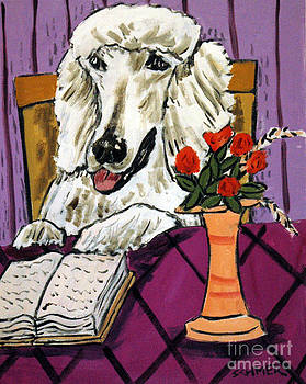 Poodle Reading at the Library by Jay  Schmetz