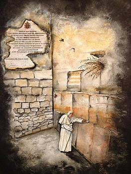 Pope John Paul II At The Wailing Wall by Laura LaHaye