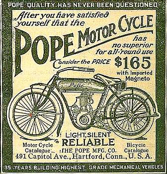 Larry Lamb - Pope motorcycle advertisement