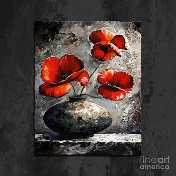 Poppies 02 - Style Black White and Red by Emerico Imre Toth