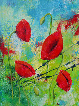 Poppies and barbed wire by Bitten Kari