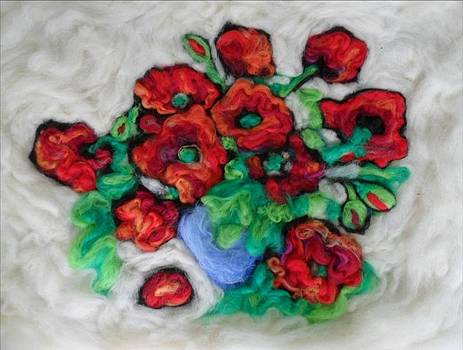Poppies in blue vase by Natalia Levis-Fox