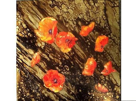 Poppies In Gold Ii by Nelu Gradeanu