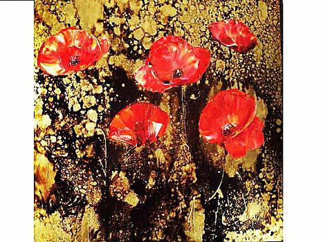 Poppies In Gold Iii by Nelu Gradeanu