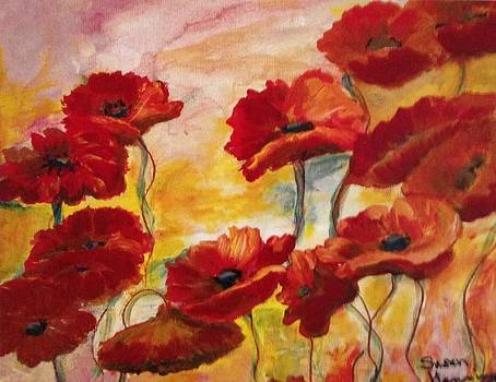 Poppies in The Wind by Susan Hanning