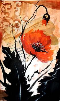 Poppies on decoupage by Patricia Rachidi