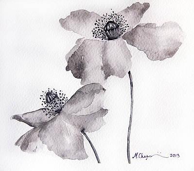 Poppy flower in Black by Mahsa Watercolor Artist
