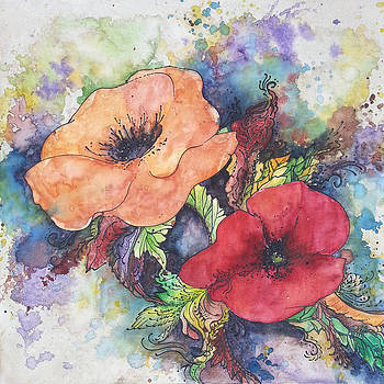Christy  Freeman - Poppy Flowers Orange and Red