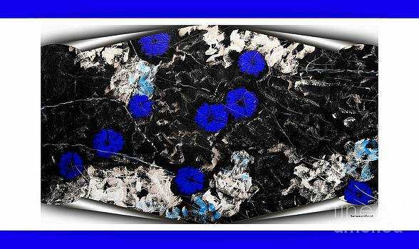 Barbara Griffin - Poppy Jasper Stone Painting with Blue Borders