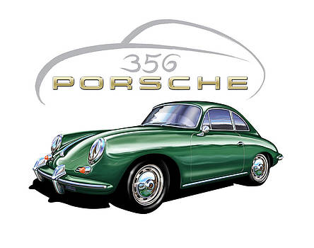 Porsche 356 Coupe Green  by David Kyte