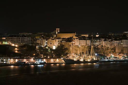 Pedro Cardona Llambias - Juan Sebastian de Elcano famous tall ship of Spanish navy visits Port Mahon at night 1