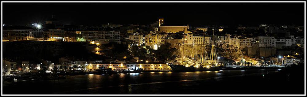 Pedro Cardona Llambias - Juan Sebastian de Elcano famous tall ship of Spanish navy visits Port Mahon at night panorama
