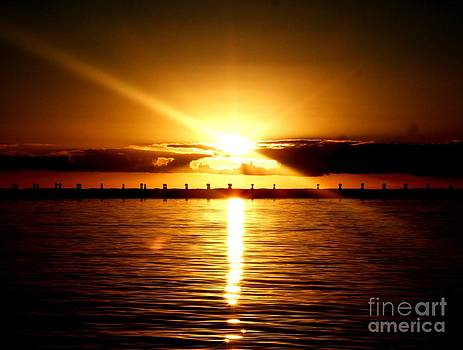 Port River Sunset Over Breakwater by Crystal Beckmann