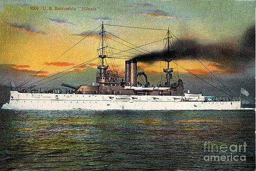 California Views Mr Pat Hathaway Archives - Port Side of  the battleship Illinois BB-7 circa 1908
