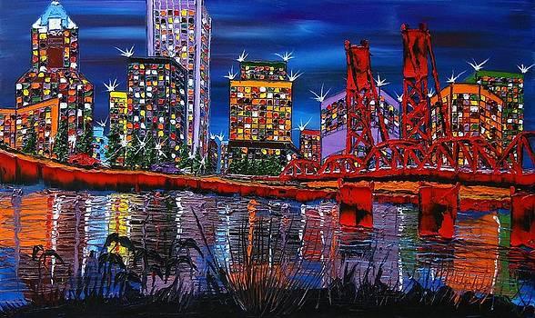 Portland City Lights 25 by Portland Art Creations