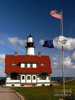 Christine Stack - Portland Headlight Lighthouse in Maine Front with Flags