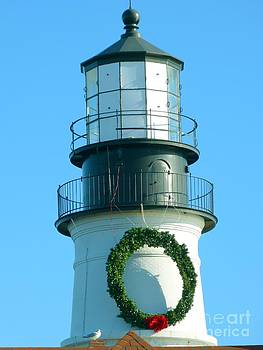 Christine Stack - Portland Headlight Lighthouse Tower Decorated with a Wreath