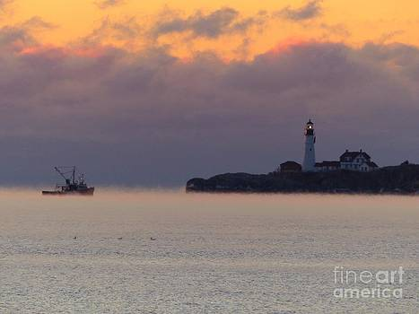 Christine Stack - Portland Headlight Lighthouse With Sea Smoke and Fishing Boat In Cape Elizabeth Maine