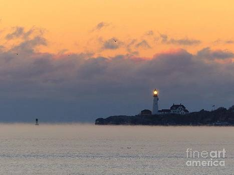 Christine Stack - Portland Headlight Lighthouse with Sea Smoke in Cape Elizabeth Maine
