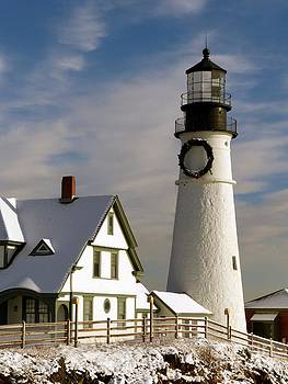 Christine Stack - Portland Headlight Lighthouse with Snow and Decorated with a Wreath for the Holidays III