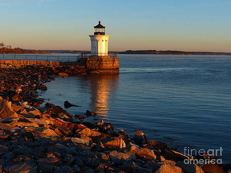 Christine Stack - Portland Ledge Lighthouse Bug Light Morning Light Reflection Curve