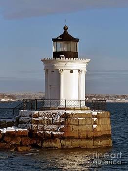 Christine Stack - Portland Ledge Lighthouse Bug Light Winter High Tide