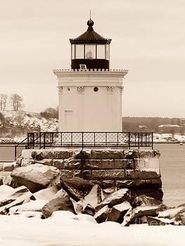Christine Stack - Portland Ledge Lighthouse Bug Light Winter Snow